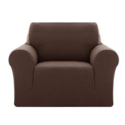 Deconovo Sofabezug Sofa Überzug SofaüberwurfSofa Cover Sesselbezug Sofahusse Sofa Abdeckung Super Elastisch Stretch Jacquard 80-120 cm Dunkelbraun 1-Sitzer