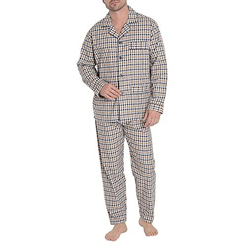 El Búho Nocturno - Pijama Hombre Largo Solapa Viyela Cuadros Naranja 100% algodón Talla 4 (L)