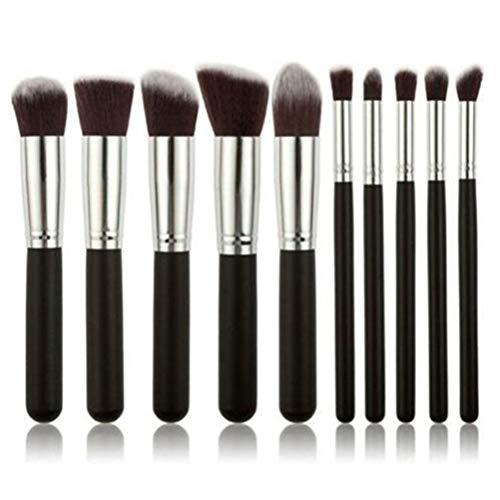 Flybloom Pinceaux De Maquillage pour Les Fards À Paupières Set Foundation Facial Brushes (Silver Black)