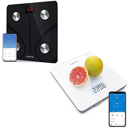Renpho Smart Body Fat Scale, Kitchen Scale Bluetooth Food Scale or Baking, Cooking and Coffee Scale with Nutritional Calculator for Keto, Macro, Calorie and Weight Loss