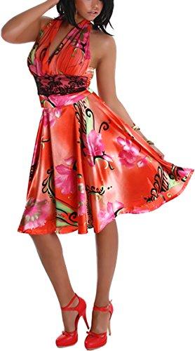 Jela London Vestido de cóctel de verano para mujer, atado al cuello, satén brillante, diseño floral y encaje bajo el pecho, para fiesta, club, playa (32-36)