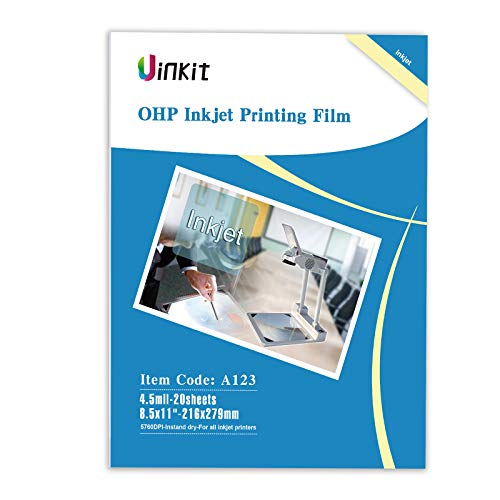 "OHP Film Overhead Projector Film single side coated film - 8.5x11"" For Inkjet Printer only Film 20 Sheets Uinkit"
