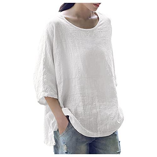 Camiseta informal para mujer de algodón y lino con estampado de flores, cuello en V, monocolor, manga larga, suéter, blusa, manga larga, sudadera, talla grande, suelta. S12-Blanco XXL