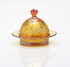 product image for Mosser Glass Maple Leaf Butter Dish with Lid in Marigold