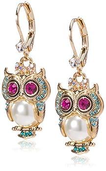 Betsey Johnson Owl Drop Earrings