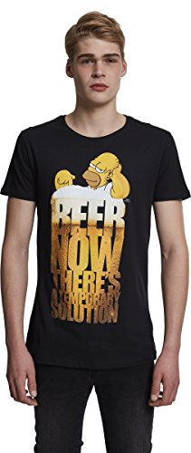 MERCHCODE Herren Simpsons Beer Now Tee T-Shirt, Black, M