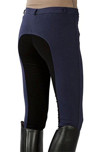PFIFF - Pantaloni da equitazione con rinforzo integrale, per bambini, Blu (blau-schwarz), 146