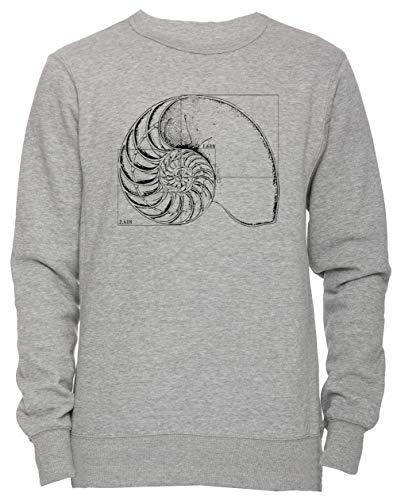 Erido Fibonacci sur Une Nautile Coquille Unisexe Homme Femme Sweat-Shirt Jersey Pull-Over Gris Taille L Men's Women's Jumper Grey Large Size L