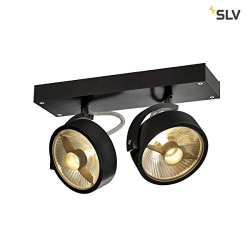 SLV 1000703 A++, Wandleuchte Deckenleuchte, Aluminium, 75 watts, GU10, Schwarz matt, 30 x 9 x 18 cm