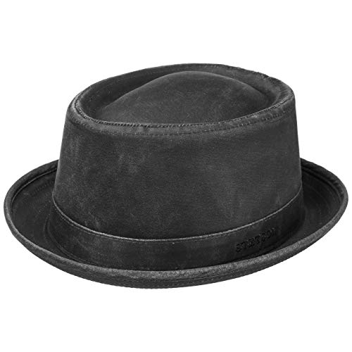 Stetson Pork Pie Used Look 1611101 by (XXL/62, schwarz)