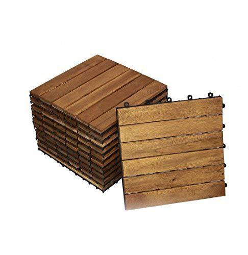 SAM Terrassenfliese 01, Akazienholz, 11 klick-Fliesen für 1m², 30x30cm, Garten- Bodenbelag mit Drainage