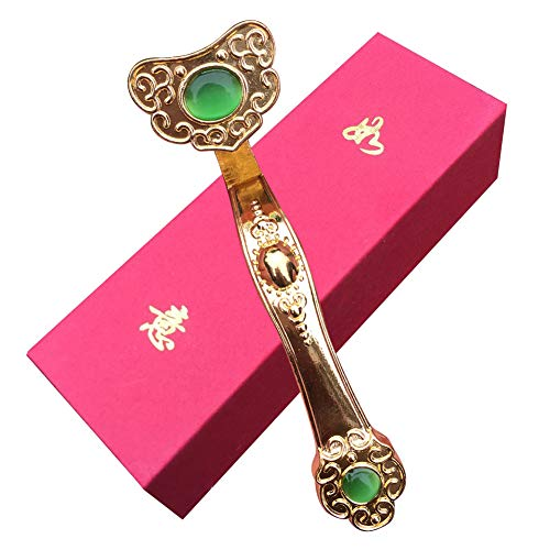 GEZICHTA Chinese Feng Shui Ruyi Scepter Ornament, Golden Ru Yi Embedded Jade Crystay Good Fortune Wealth Feng Shui Crafts for Home Office Decor