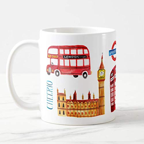 Coffee Mug London England Coffee Cup - London Mug - Big Ben - Red Phone Booth - Red London Bus Funny Coffee Mug, White Ceramic 11 Oz Travl Coffee Tea Mugs Cups