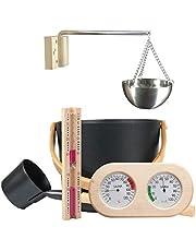 Seatechlogy Sauna-accessoireset, saunakuip met troffel, infusieemmer, 5-delige saunaset met 7 liter saunakachel, zandloper, thermohygrometer, saunakachel