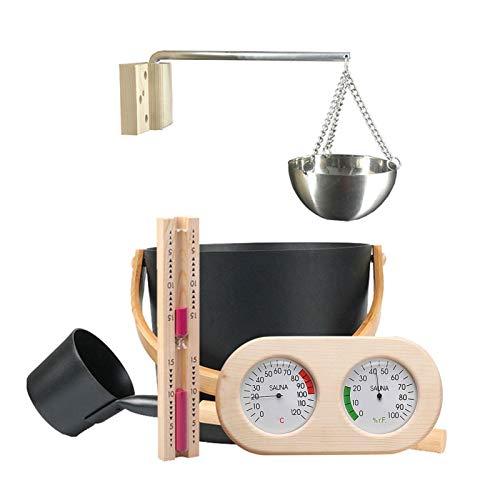 Seatechlogy Sauna-zubehörset | Saunakübel Mit Kelle | Aufgusseimer Set Saunaeimer | 5-teilig Saunaset Mit 7L Sauna Kübel/Sanduhr/Thermohygrometer/Saunaofen