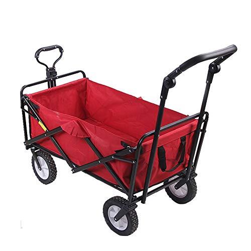 Lwieui Carros y vagonetas Jardín Carro de la Carretilla Plegable Carro de tracción en Las Ruedas de la Carretilla Camping Carrito de Jardin de Servicio (Color : Red, Size : 100x50x75cm)