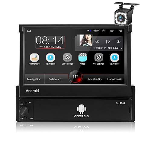 Autoradio Android 8.1 Single Din, ZIJIN 7' Flip Ricevitore radio Touch Screen,FM/BT/WiFi/GPS Navigazione, Mirror Link per telefono cellulare + 12LED Telecamera retrovisiva