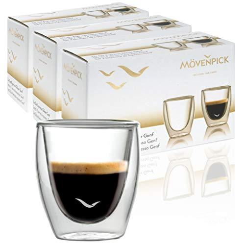 Mövenpick 6 x Espressogläser Doppelwandig 60 ml - Espresso Tassen ohne Griff Doppelwandige Espresso Gläser - Spülmaschinenfest auch für Tee geeignet