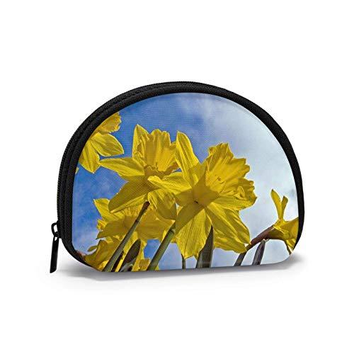Monedero de narciso amarillo para mujeres con cremallera pequeñas bolsas cartera Wirel auricular paquete