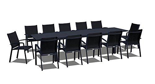 UrbanFurnishing.net - 13 Piece Extendable Modern Outdoor Patio Dining Set - Black on Black