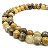 [ABCgems] Extremely-Rare Indonesian Honey Bumble Bee Jasper (Mine Inside an Active Volcano at Mount Papandayan, West Java) 12mm Smooth Round Natural Semi-Precious Gemstone Healing Energy Beads