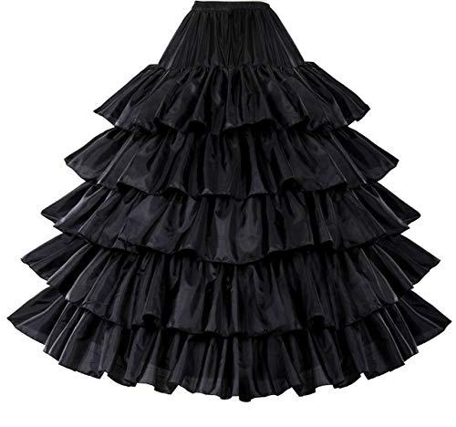 Petticoat Unterröcke Reifrock Rockabilly Rüschen A Linie Lang Vintage für Hochzeit Brautkleid Schwarz Weiß Rot 5 Schichten 4 Reifen