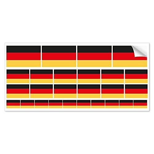 INDIGOS UG Mini Aufkleber-Set - selbstklebend - Deutschland Flagge - 3 verschiedene Größen in einem Set - UV- & Wetterwiderstandsfähig