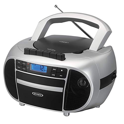 Jensen CD-550SMP3 Top-Loading Boombox CD/MP3 Black Series CD/MP3 AM/FM Radio Cassette Player, and Recorder Boombox Home Audio, Aux, Headphone Jack (Silver) (Renewed)