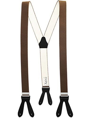 Xeira Hosenträger Braun mit Schwarzen Lederriemen zum Knöpfen für Herren und Damen Normale Länge 110