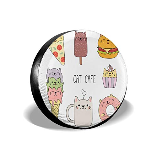 Usicapwear Tire Cover Band Cover Wiel Covers, Katten Cafe Hand getrokken In Voedsel Illustratie Pizza Ijs Cupcake Sweetness Thema, voor SUV Truck Camper Travel Trailer Accessoires 16 inch