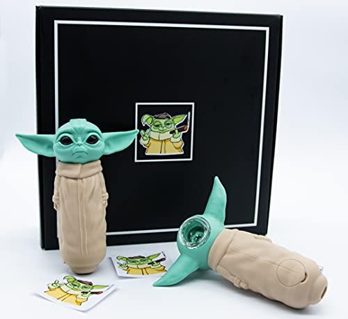 Pipa de silicona para fumar con forma de bebé Yoda (1 pieza), con accesorios y diseño exclusivo de caja y pegatinas