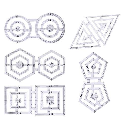 5er Acryl Twin Quilt-Schablone Nähvorlage Quilting Vorlagen Lineal zum Nähen Steppen Basteln