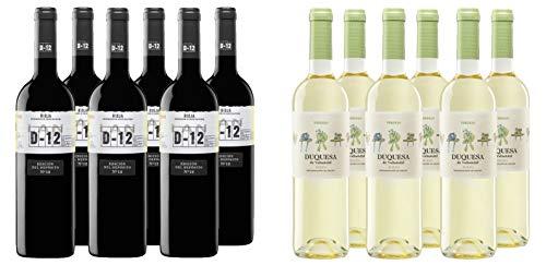 Pack Especial - 6 Botellas Vino Tinto LAN D - 12 Crianza 75cl + Regalo De 6 Botellas Vino Blanco Duquesa de Valladolid 75cl - Total: 9 litros