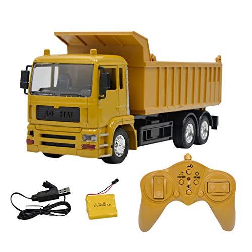 Bascar Camión volquete teledirigido 1/24 de control remoto, camión teledirigido de 8 canales, vehículos de construcción de 2,4 G, juguete para niños, versión de plástico, regalo para niños