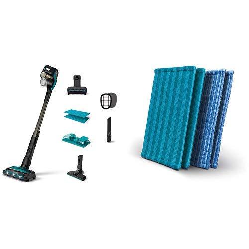 Philips XC8147/01 SpeedPro Max Aqua kabelloser Staubsauger mit Wischfunktion 8000 Series (Akkusauger, 360°-Saugdüse, 80 Min. Akkulaufzeit) türkis mit Mikrofaserpads XV1700