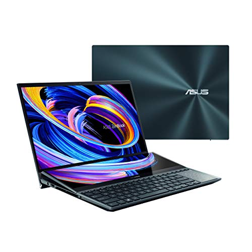 "ASUS ZenBook Pro Duo 15 OLED UX582 Laptop, 15.6"" OLED 4K UHD Touch Display, Intel Core i7-10870H, 16GB RAM, 1TB SSD, GeForce RTX 3070, ScreenPad Plus, Windows 10 Pro, Celestial Blue, UX582LR-XS74T"