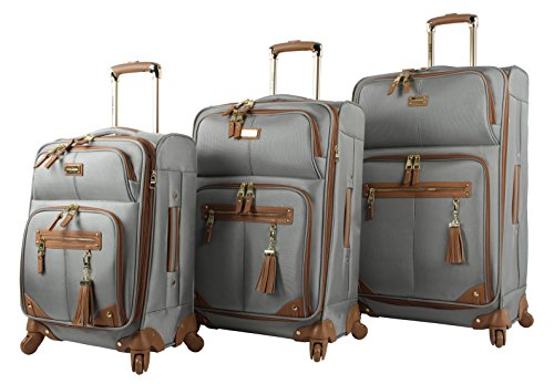 Steve Madden Designer Luggage Collection - 3 Piece Softside Expandable Lightweight Spinner Suitcase Set - Travel Set includes 20 Inch Carry on, 24 Inch & 28-Inch Checked Suitcases (Harlo Gray)