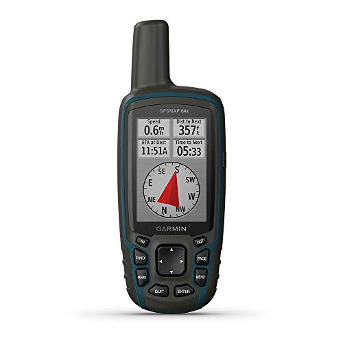 Garmin GPSMAP 64x, Handheld GPS, Preloaded with TopoActive Maps, Black/Navy, One Size (010-02258-00)
