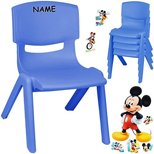 alles-meine.de GmbH Kinderstuhl / Stuhl - Motivwahl - blau + Sticker - Disney Mickey Mouse - inkl. Name - Plastik - bis 100 kg belastbar / kippsicher - für INNEN & AUßEN - 0 - 99..