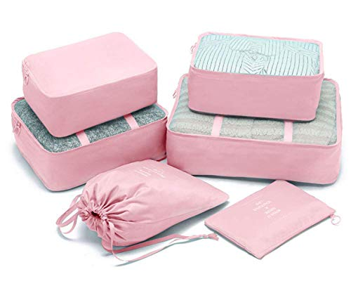 6 Pcs Packing Cubes System,Travel Organizers Luggage Packing Bags Carry On Luggage Organizers (Upgraded Pink)