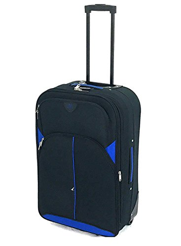 """26"""" Medium Super Lightweight Expandable Durable Hold Luggage Suitcase Trolley Case in 2 Wheels, Weighs only 2.8KG! (26' Medium, Black/Blue 2119)"""