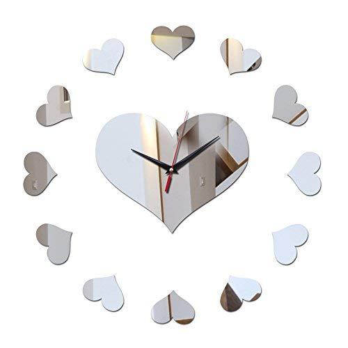 JUNYYANG Sencillo Reloj Creativo, Bricolaje Etiqueta de la Pared de la Sala Relojes Espejo de acrílico Pegatinas decoración casera Reloj Sofá de Nuevo Suelo
