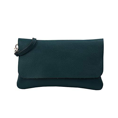 SH Leder Echtleder Umhängetasche Clutch kleine Tasche Abendtasche 24,50x15cm Ely G149 (Petrol)