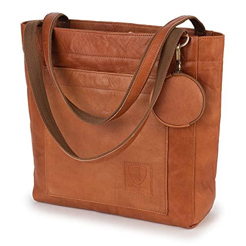 Berliner Bags Shopper Seville, Henkeltasche aus Leder Handtasche für Frauen Vintage Braun
