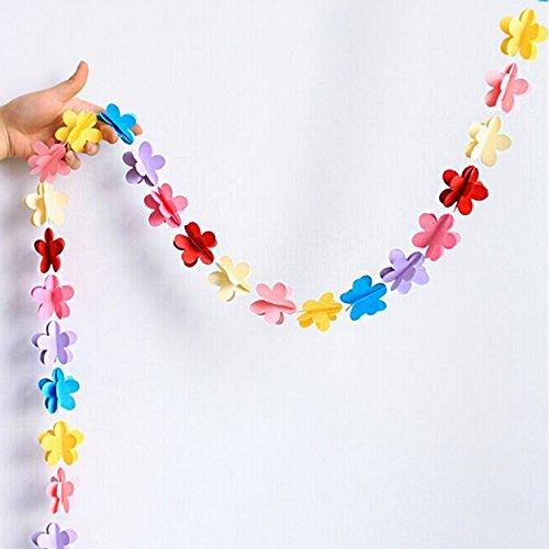 Oblique-Unique® Deckenhänger 3D Girlande Bunt - hängende Papiergirlande Banner Deko - Motiv wählbar (Blumen Bunt)