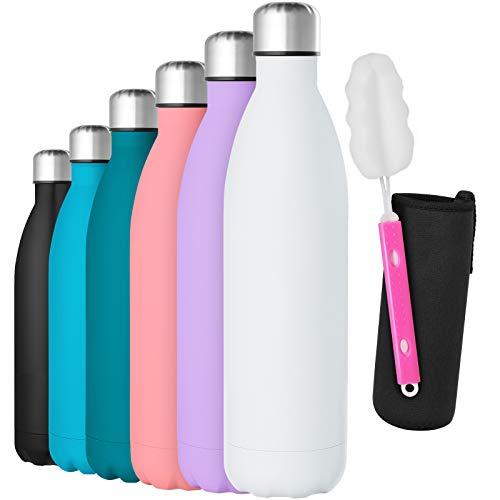 GeeRic Bottiglia Termica 750ML Opaco Borraccia in Acciaio Inox+Spazzola+Borsa Portatile...