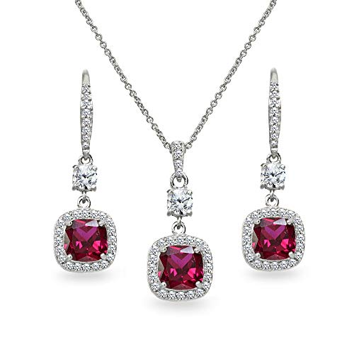 Sterling Silver Synthetic Ruby Cushion-Cut Halo Dangle Leverback Earrings & Pendant Necklace Set