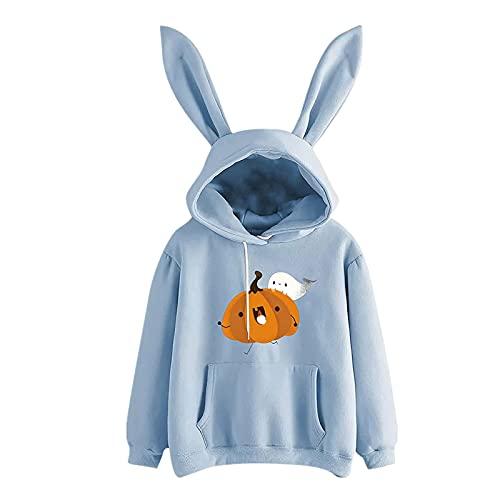 Wave166 Sudadera con capucha para mujer, diseño de orejas de conejo, con estampado de calabaza, manga larga, cuello redondo, suelta, informal, para Halloween, azul, L