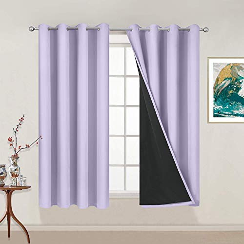 Yakamok 100% Blackout Curtains 54 Inches Long, 2 Thick Layers Thermal Insulated Window Treatment with Black Liner , Heat and Full Light Blocking Drapes for Bedroom(52Wx54L, Lilac, 2 Panels)