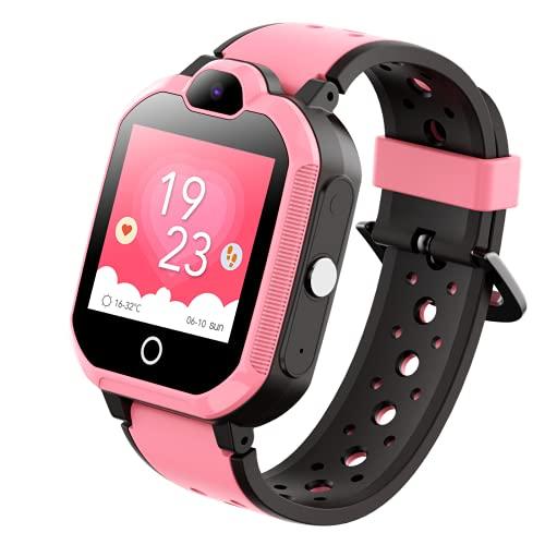 Reloj para Niños con GPS, Cámara De Pantalla Táctil A Prueba De Agua, Chat De Voz, Reloj Despertador, Batería De Gran Capacidad, Modo De Aula De Socorro SOS, Regalo De Huella Histórica Pink